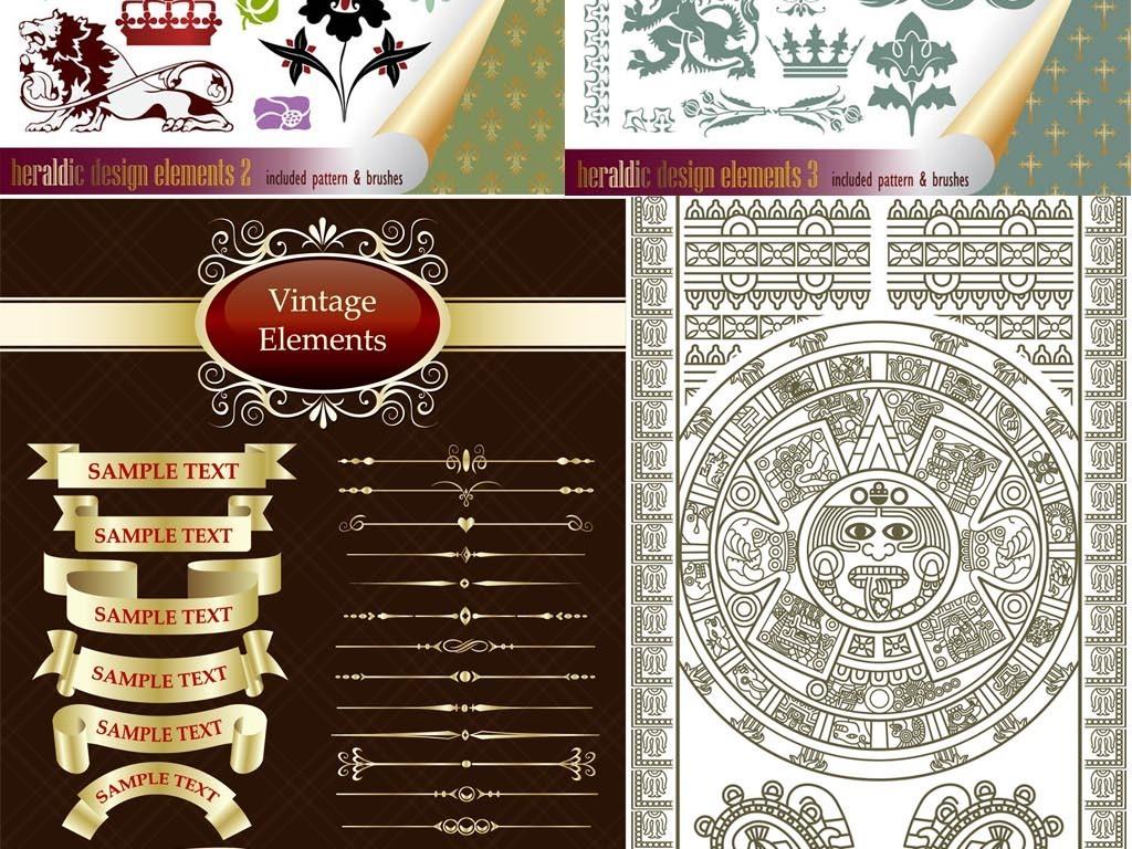 欧式复古古典古罗马皇家徽章装饰元素皇冠花纹边框图片下载ai素材 欧式边框