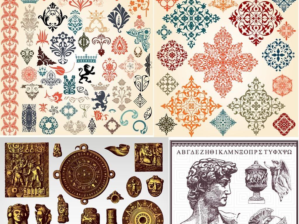 欧式复古古典古罗马皇家徽章装饰元素皇冠花纹边框图片素材 ai模板下载 108.67MB 欧式边框大全 背景