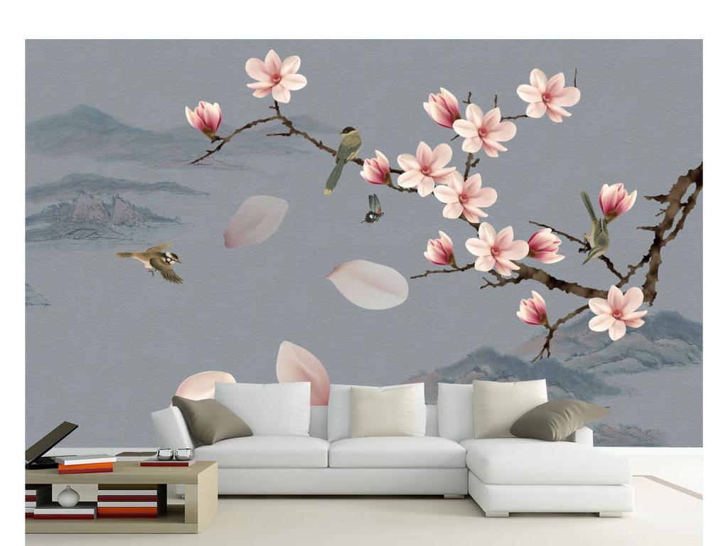 手绘玉兰水墨山水花鸟装饰画背景墙