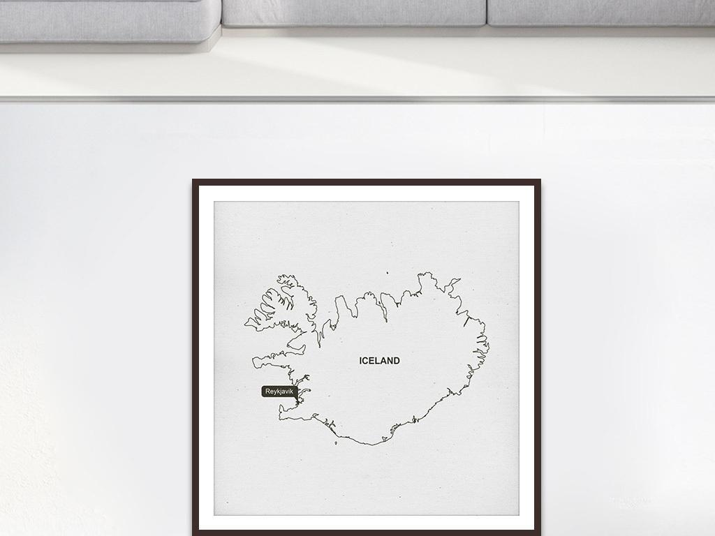 简约黑白线描冰岛地图客厅挂画装饰画