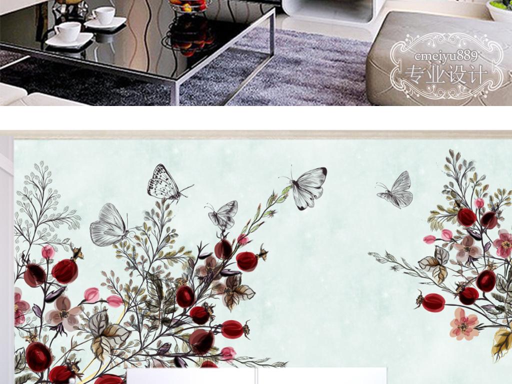 花卉简约欧式线描花时尚电视背景墙壁画