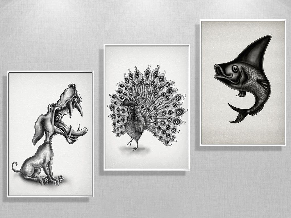 北欧抽象艺术手绘动物黑白装饰画