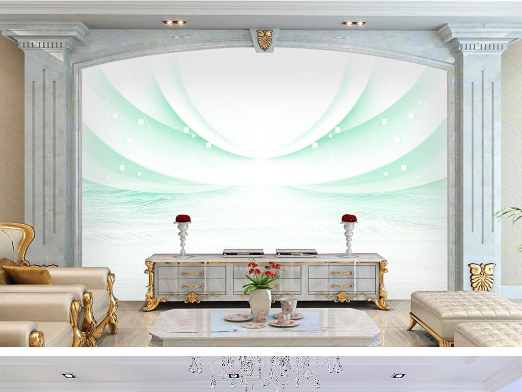 新中式3D立体抽象蓝天白云大海意境背景墙装饰画