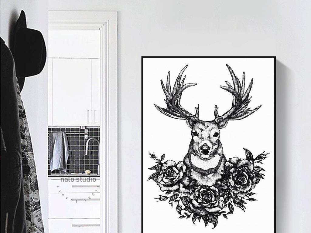 黑白手绘驯鹿花卉欧式北欧现代简约装饰画