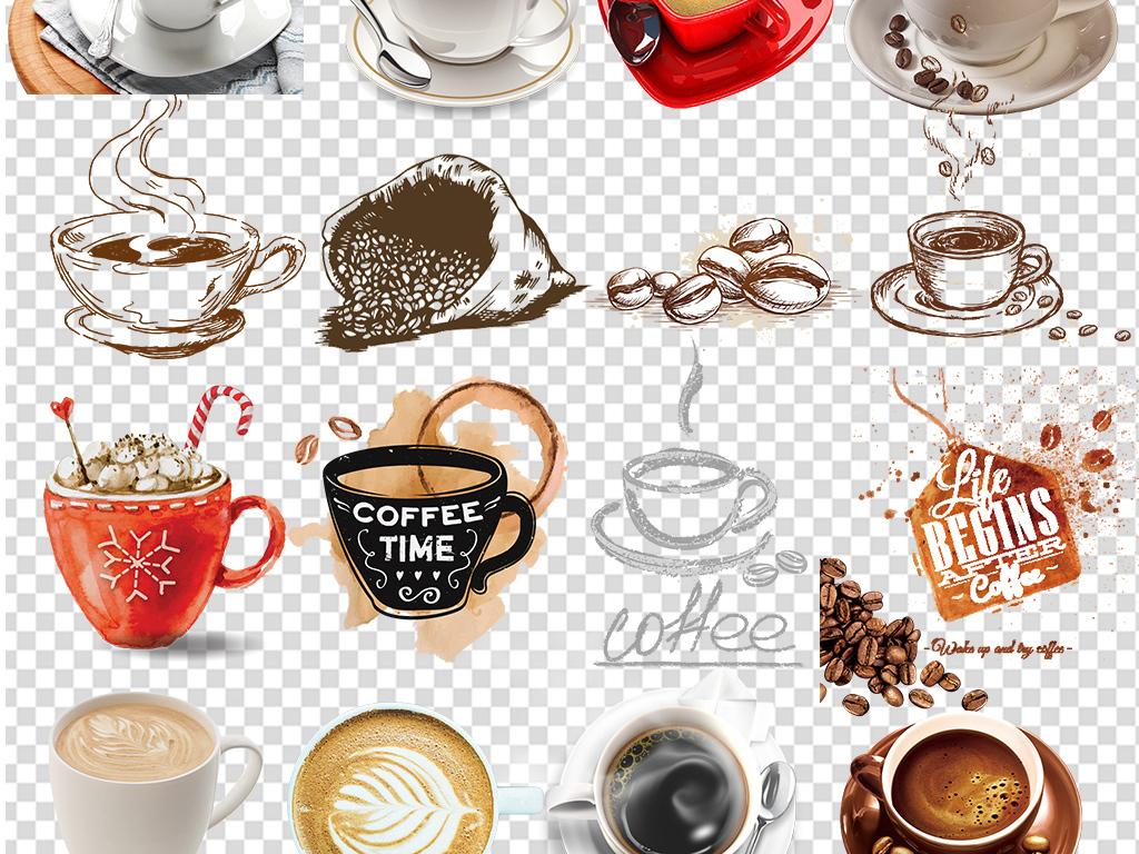 手绘咖啡下午茶咖啡豆咖啡杯设计png元素