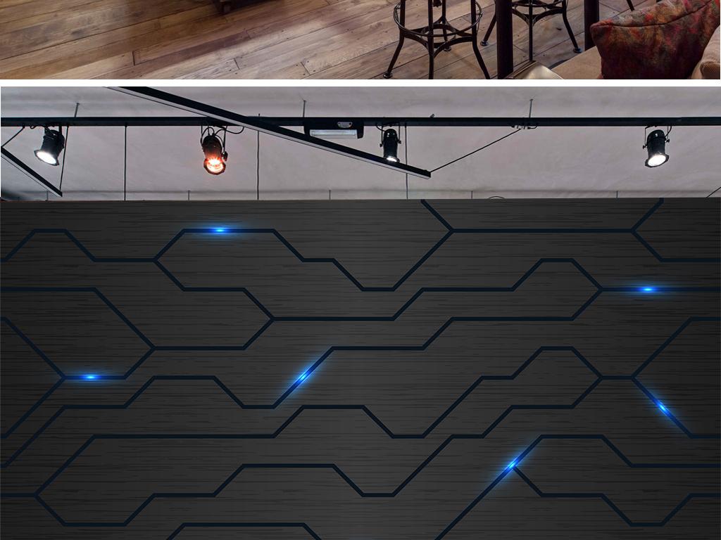 现代简约科技感时尚电路图工装背景墙