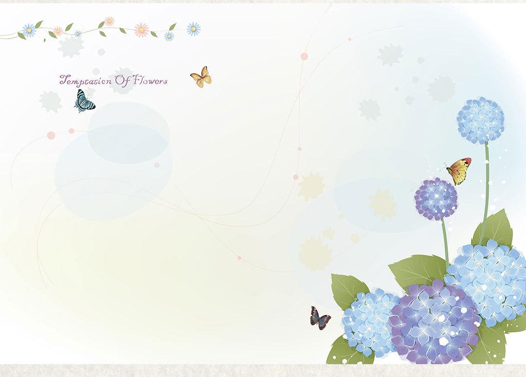 现代简约卡通手绘绣球花电视背景墙壁画蝴蝶(图片编号