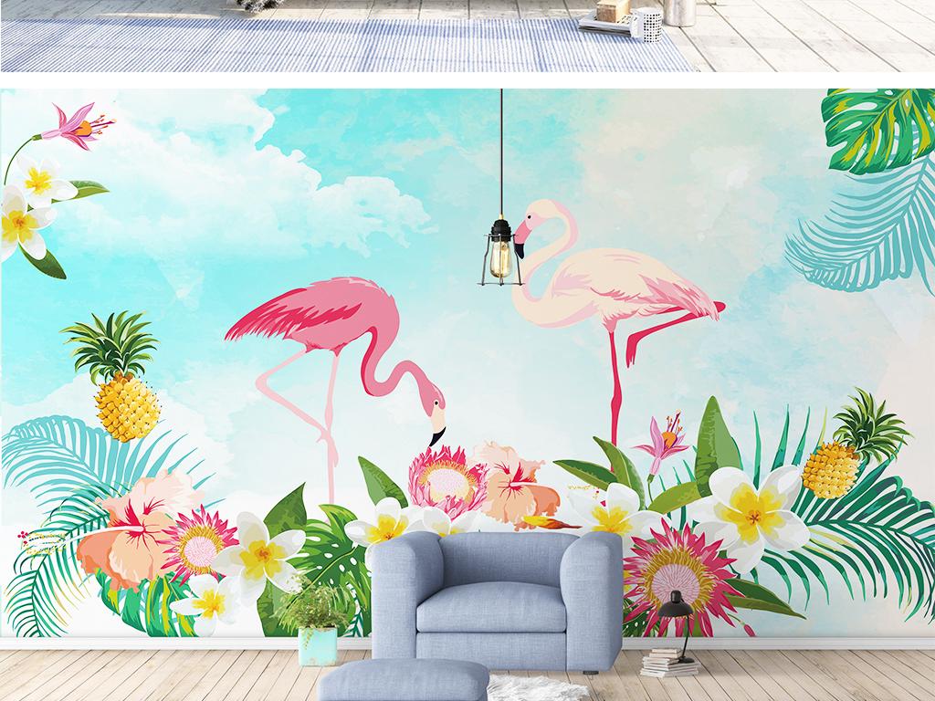 北欧风现代简约火烈鸟背景墙壁画壁纸图片设计素材_(.图片