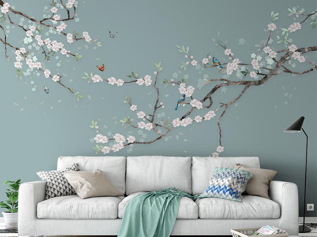 喜上眉梢手绘花鸟梅花新中式沙发电视背景墙图片