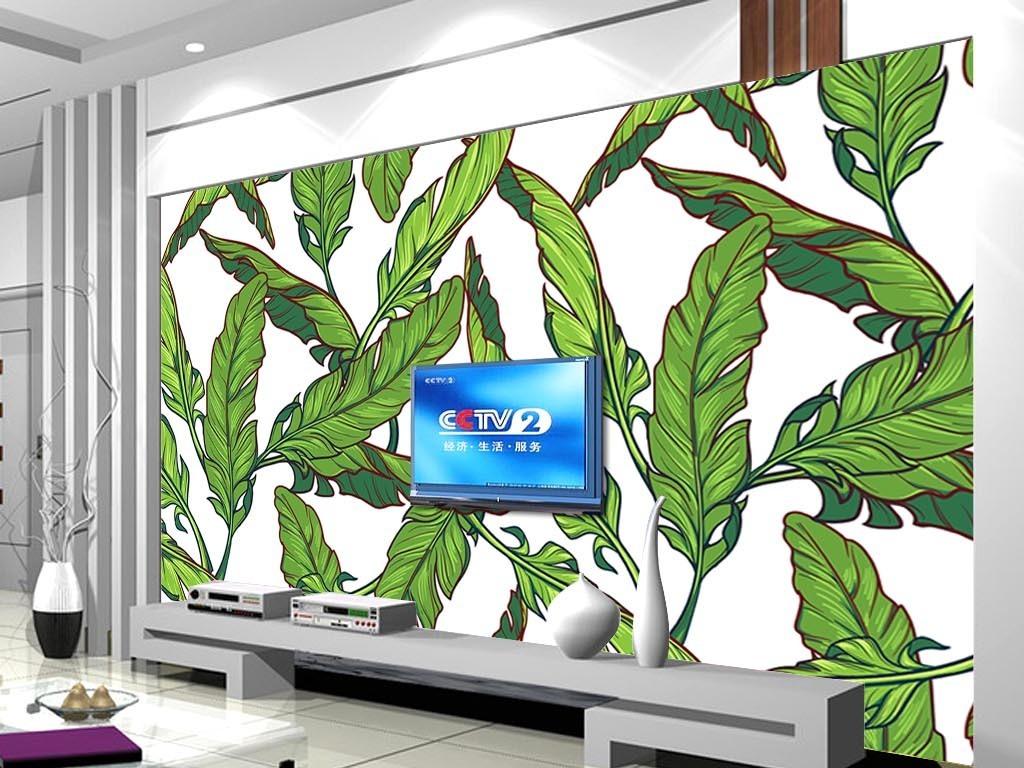 背景墙|装饰画 电视背景墙 手绘电视背景墙 > 手绘芭蕉叶