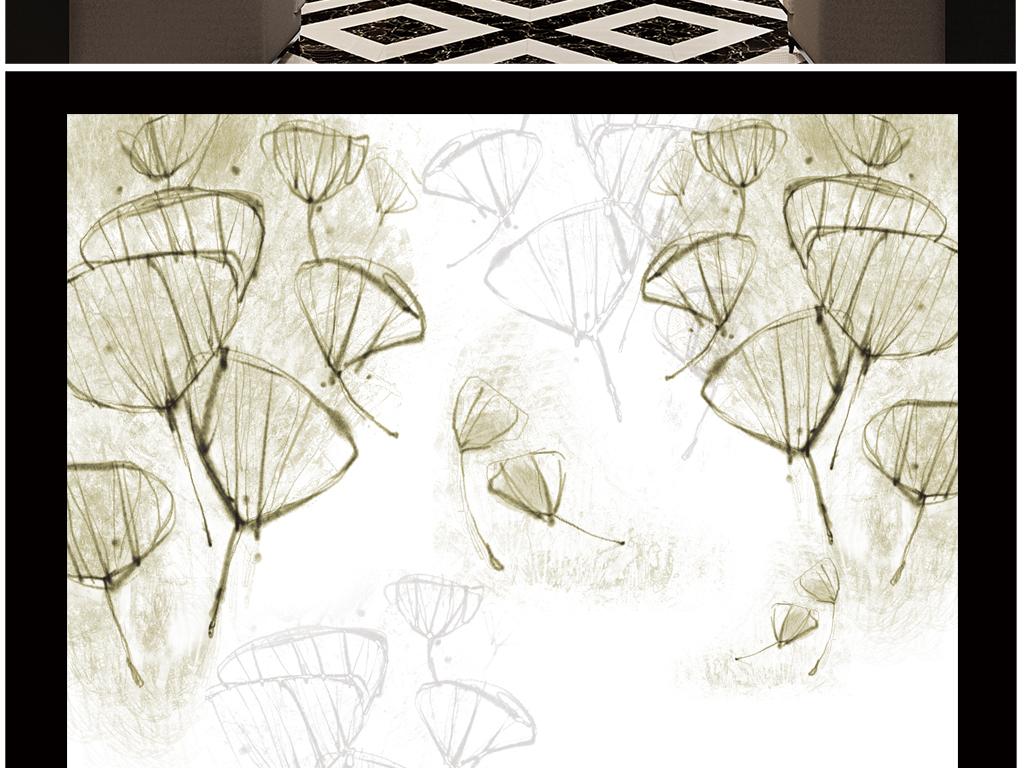背景墙 电视背景墙 电视背景墙 > 淡雅手绘花银杏叶  素材图片参数