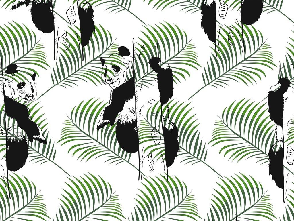 产品图案设计 t恤图案 卡通图案 > 大熊猫植物花卉树木叶子面料印花