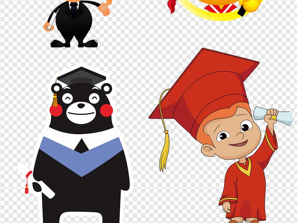 卡通博士人物小博士帽素材