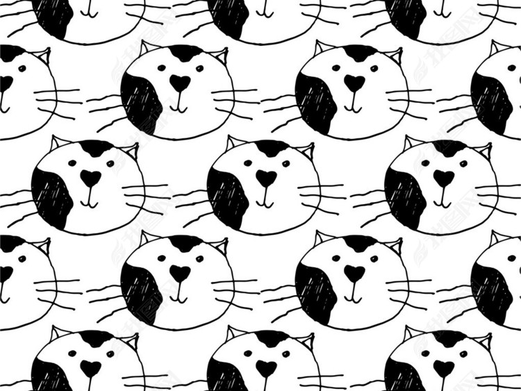 卡通动物猫咪满身印花图案循环花型AI矢量