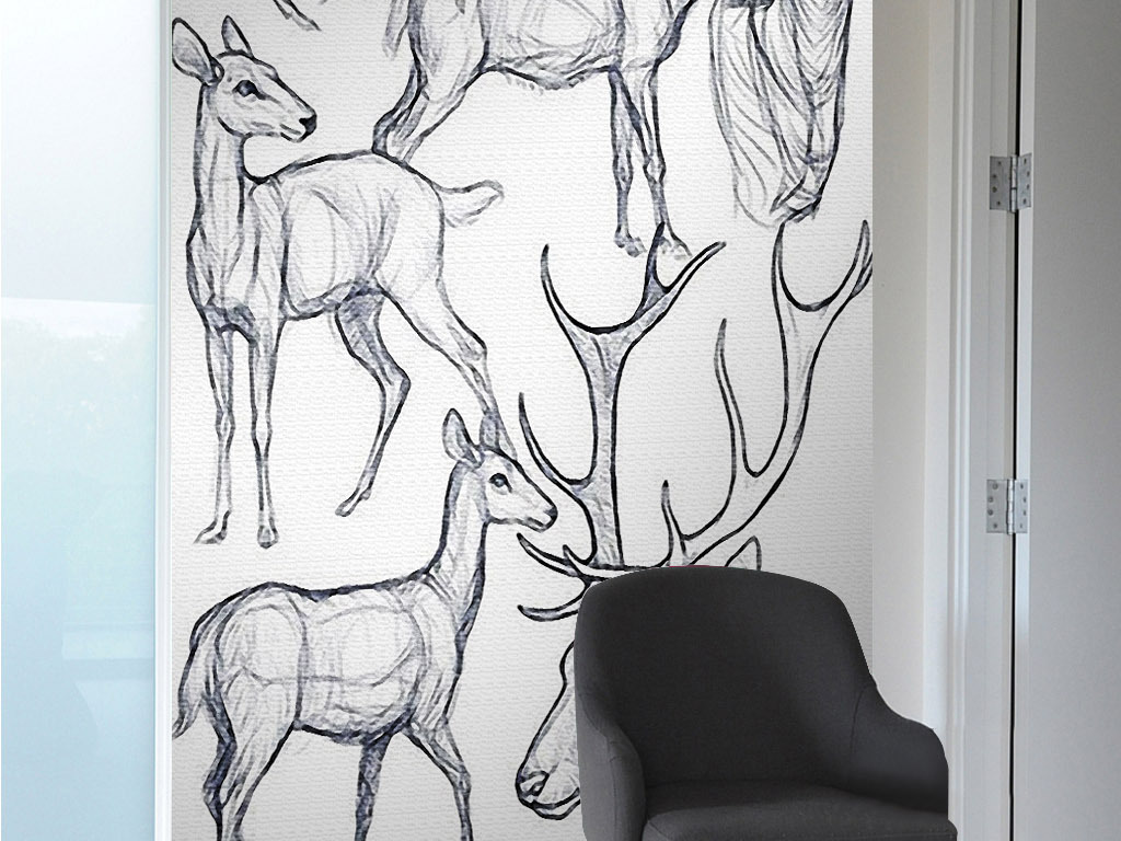 糜子鹿北欧手绘简笔画黑白现代欧式装饰画