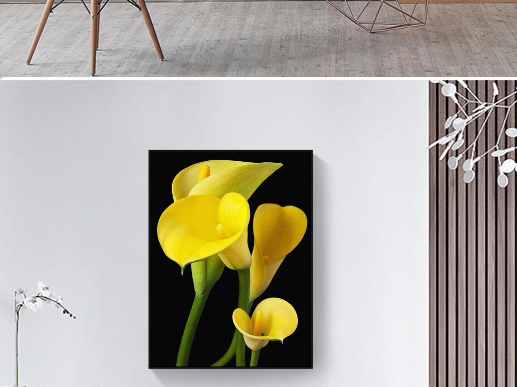 黄色马蹄莲欧式手绘现代北欧简约室内装饰画