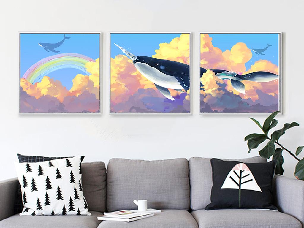 c现代简约抽象手绘彩色彩虹鲸鱼装饰画三联无框画