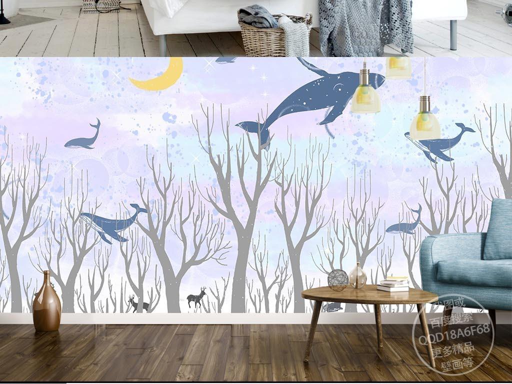 唯美天空北欧手绘卡通鲸鱼背景墙装饰画壁画