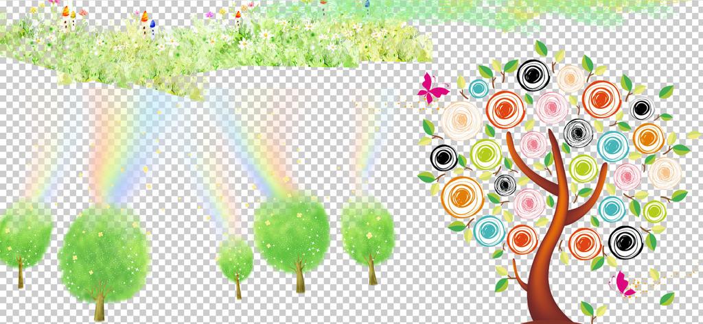 0259卡通树手绘水彩树小树彩色树木梦幻水彩树免抠素材图片