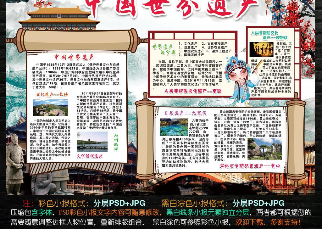 手抄报|小报 其他 其他 > 中国世界遗产小报历史非物质文化保护手抄