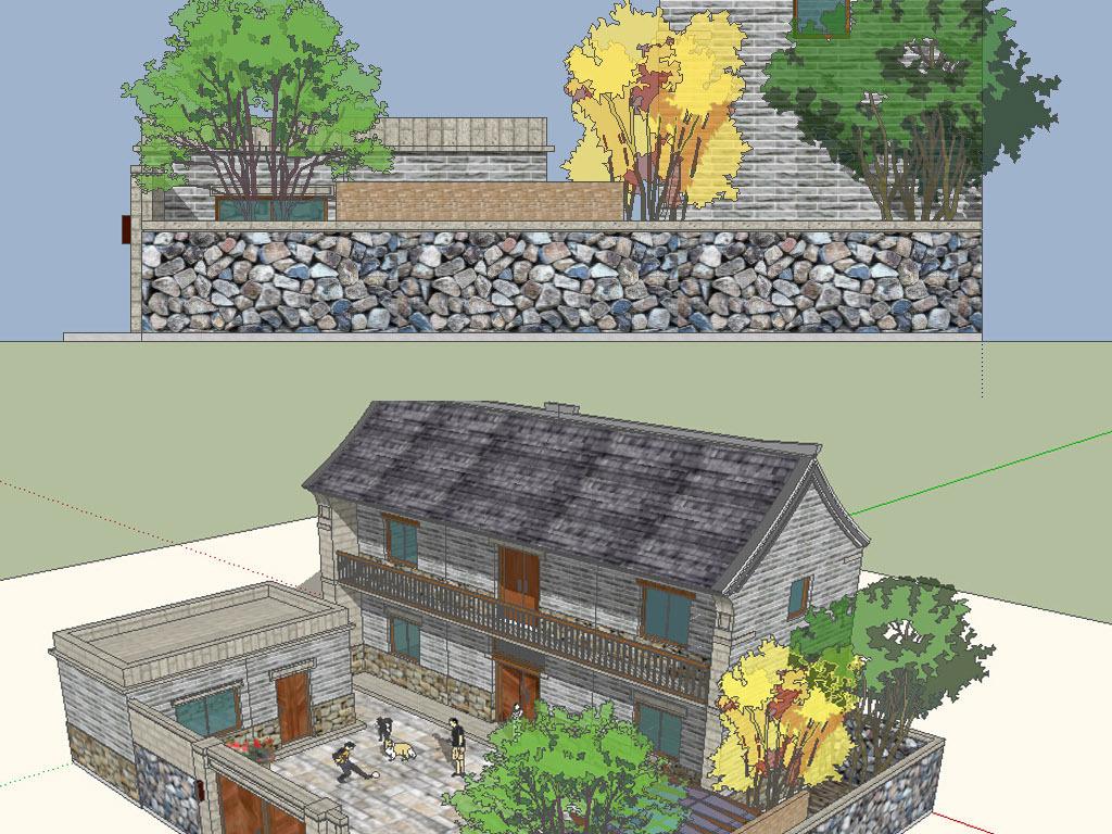 农村农家小院建筑草图su模型设计图下载(图片10.31mb)图片