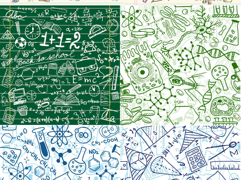 手绘黑板画小动物插画学校涂鸭数学公式化学分子式平铺背景AI矢量图设计素材