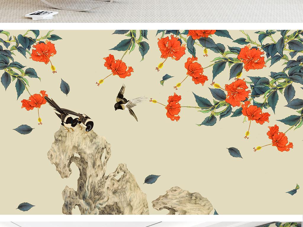 扶桑花手绘工笔花鸟新中式背景墙装饰画