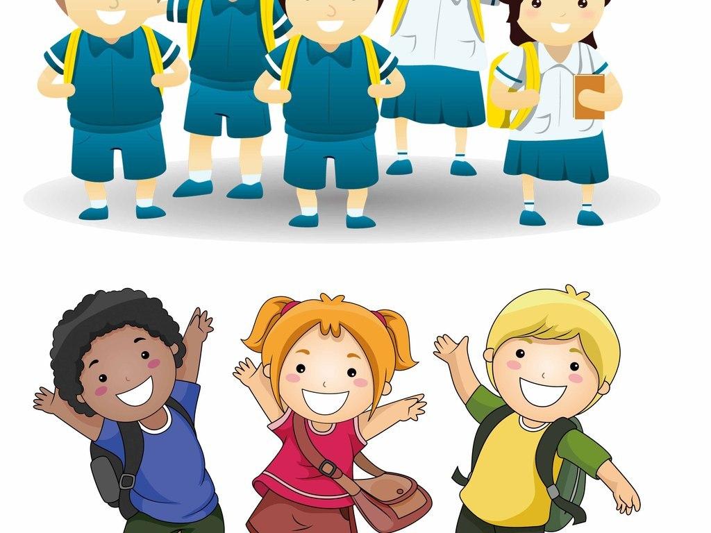 背书包的小孩卡通人物png素材