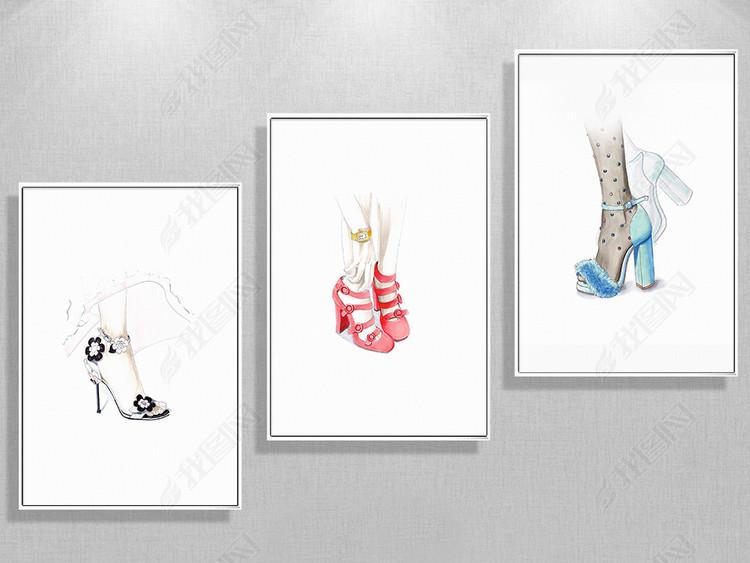 欧式时尚手绘美足简约装饰画
