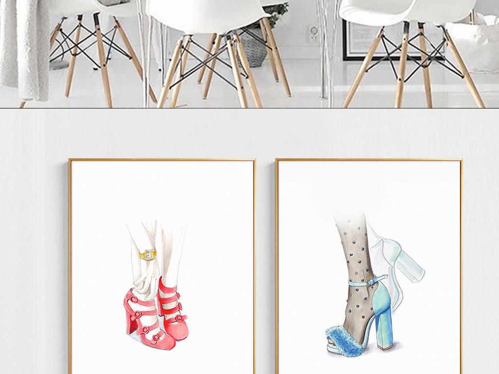 装饰画 其他装饰画 人物装饰画 > 欧式时尚手绘美足简约装饰画  素材
