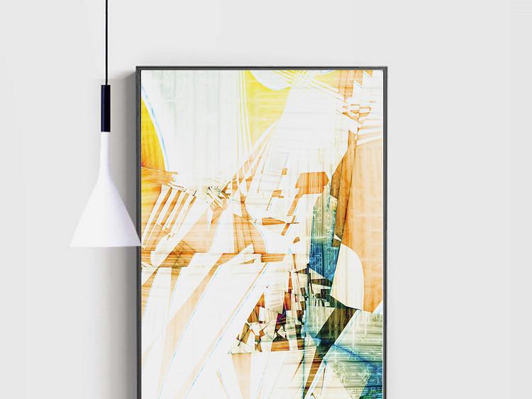 抽象金色几何艺术线条玄关背景墙