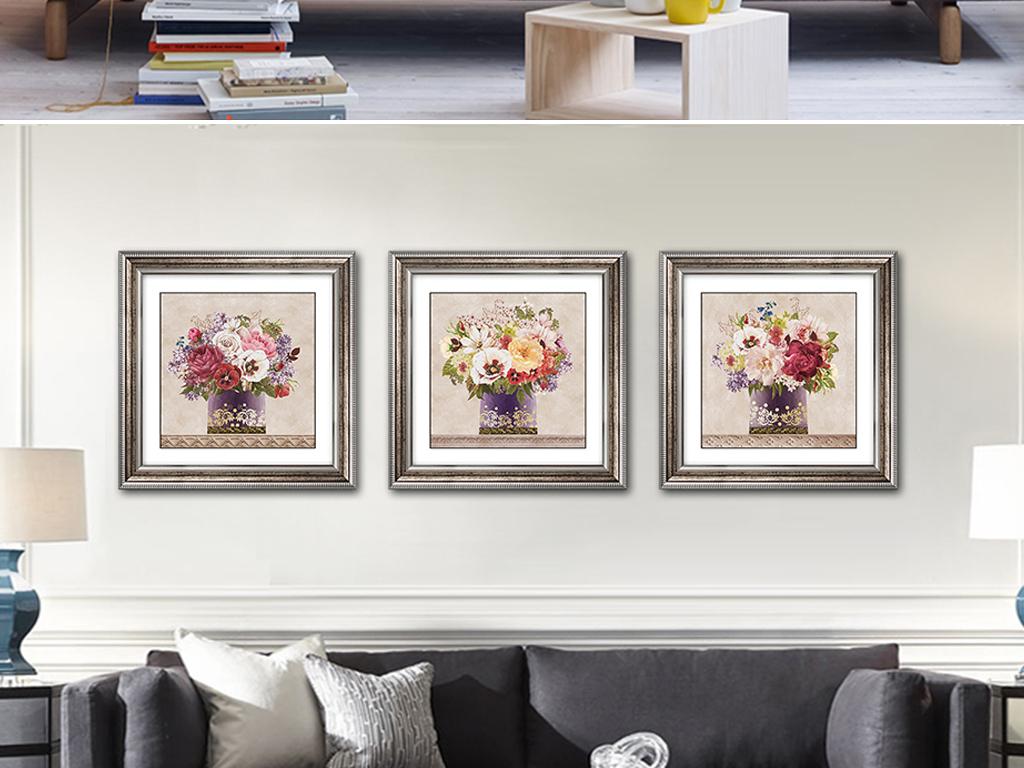 美式现代手绘花卉客厅餐厅装饰画