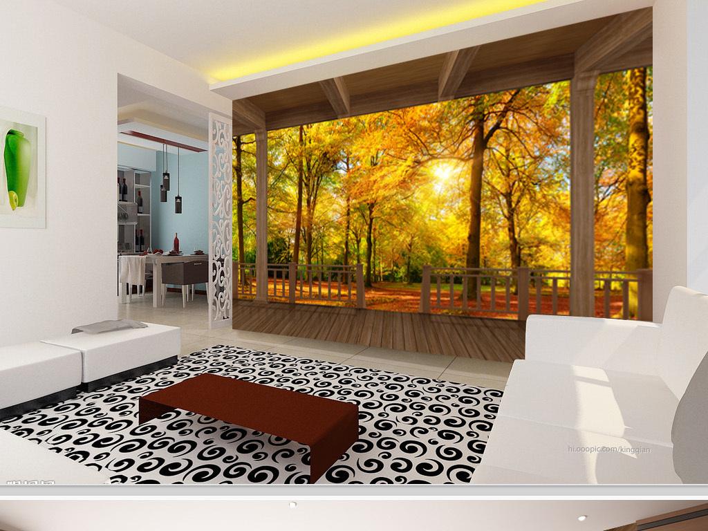 木屋阳台秋天树林风景3d背景墙