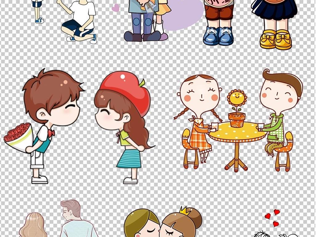 免抠元素 节日素材 情人节丨七夕 > 手绘卡通情侣结婚人物设海报计png