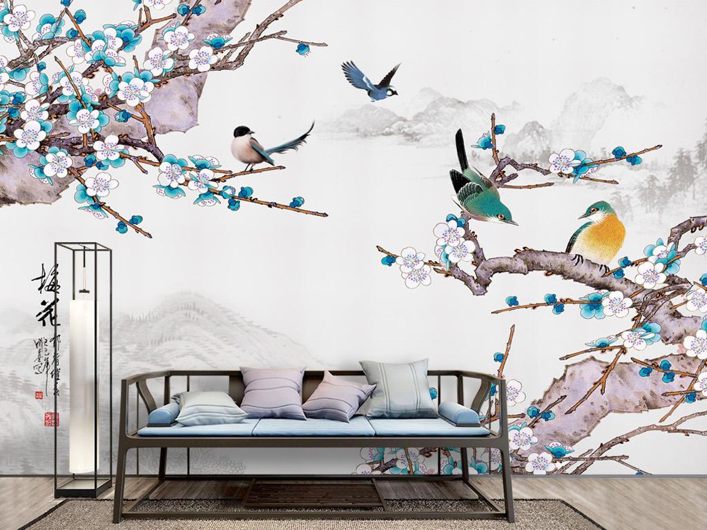 新中式水墨山水梅花花鸟背景墙壁纸笔画图片
