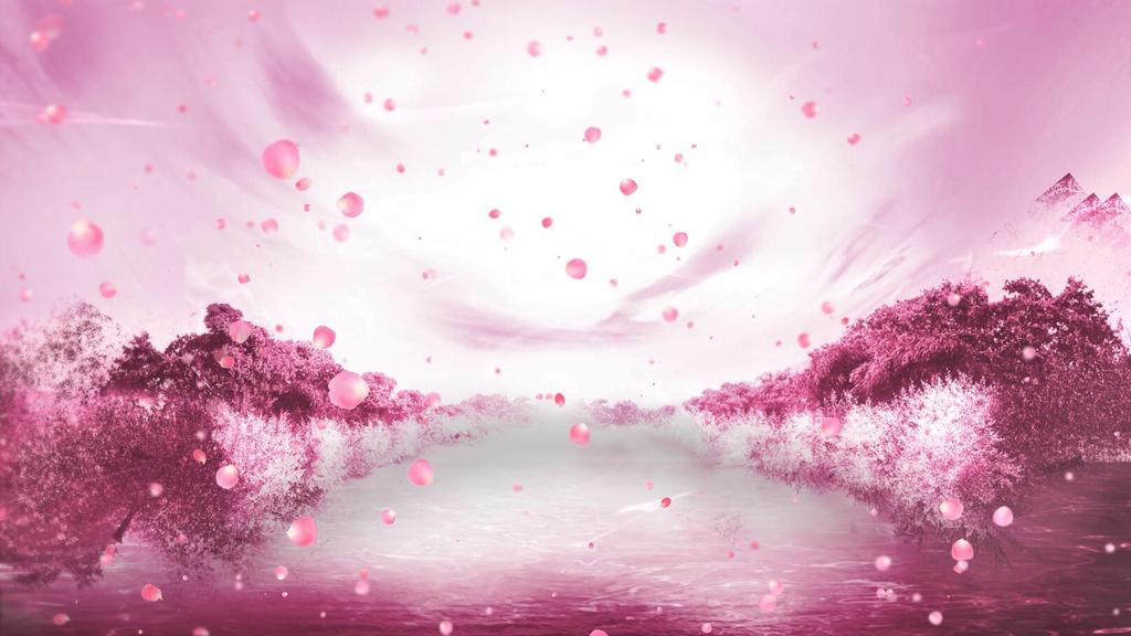手绘桃花背景图横版