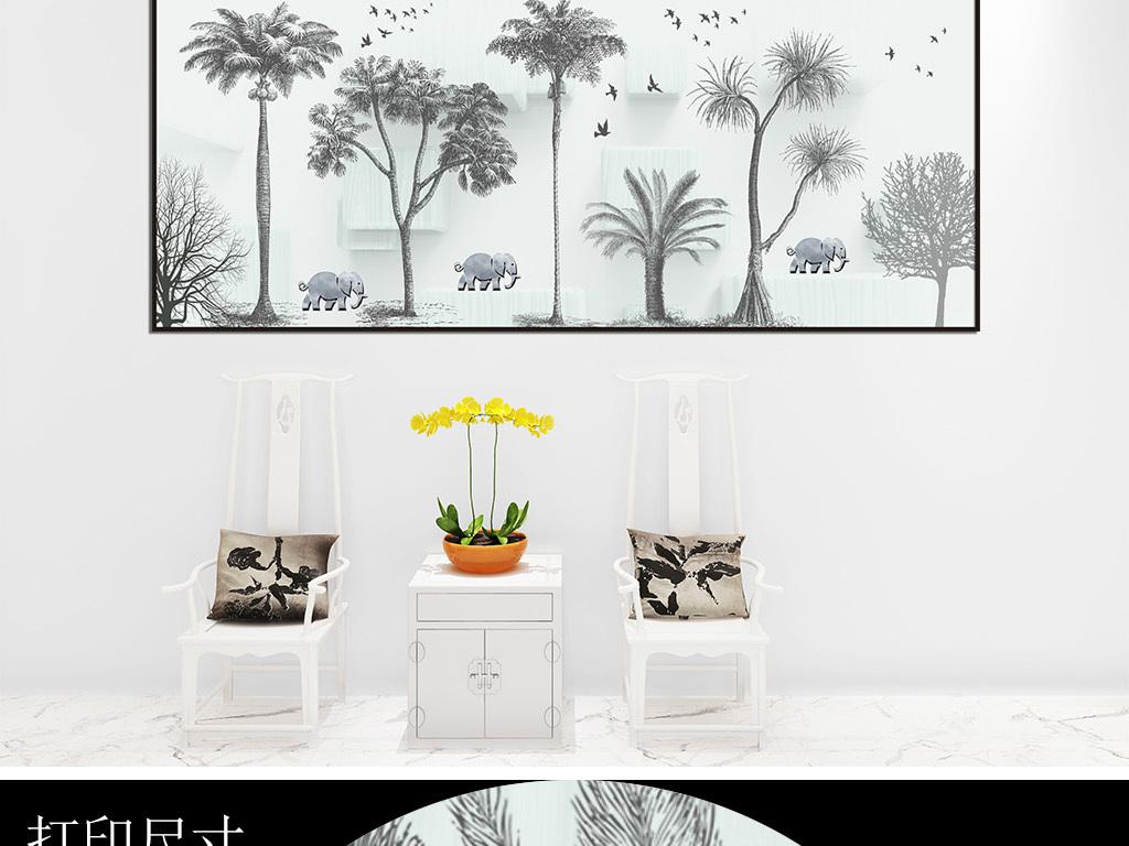北欧风格手绘森林麋鹿装饰画床头画图片设计素材_高清