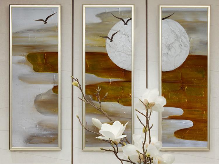 新中式红论夕照纯手绘装饰组合油画
