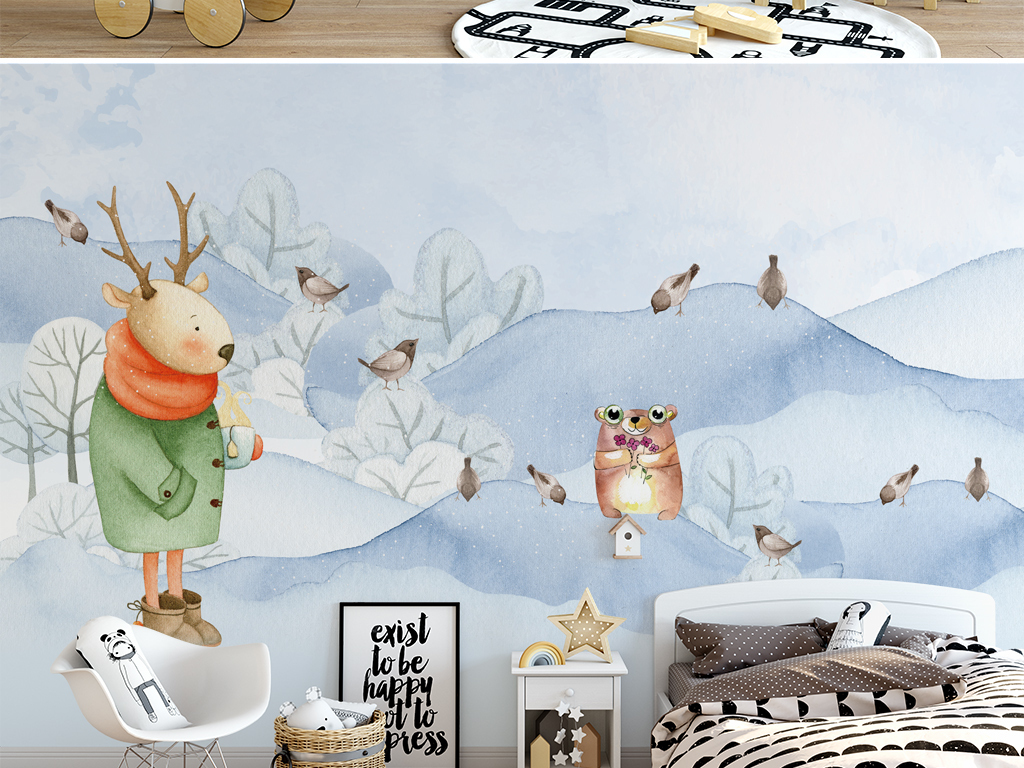 北欧水彩手绘卡通动物雪景儿童房背景墙壁纸笔画