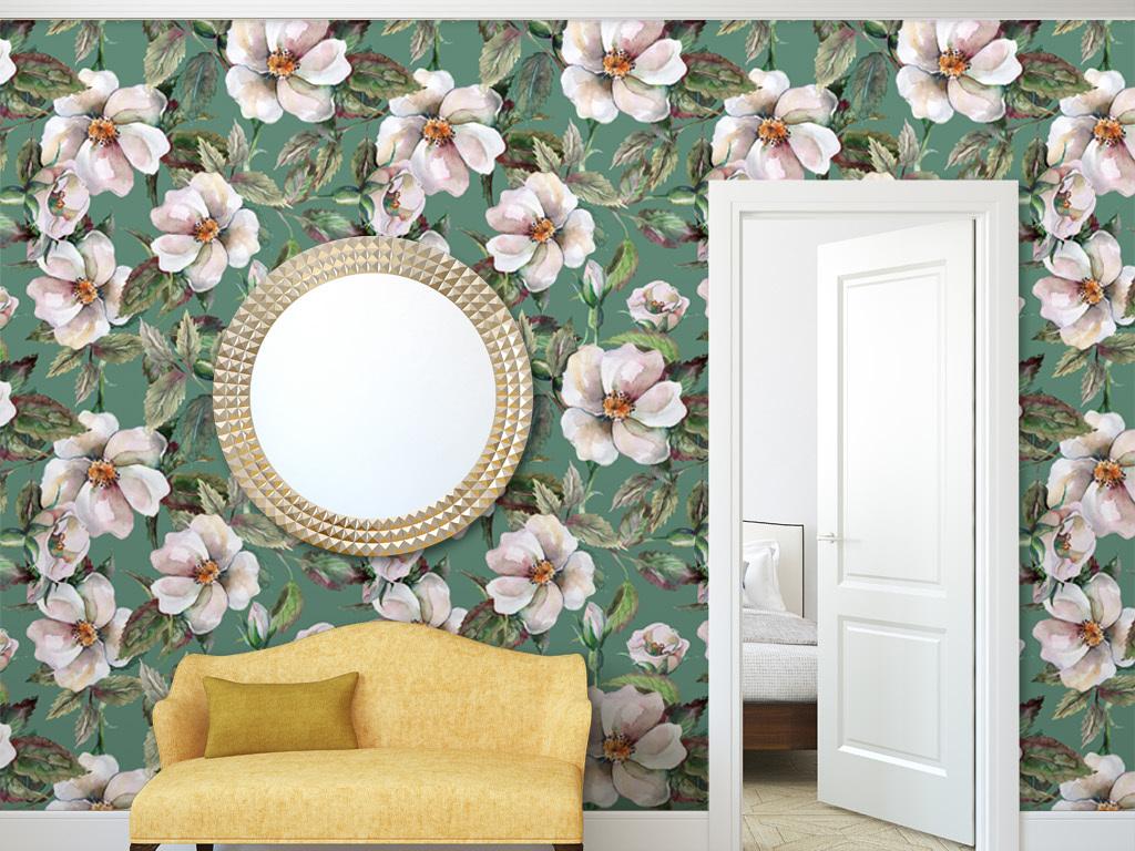 手绘水彩花朵美式墙纸