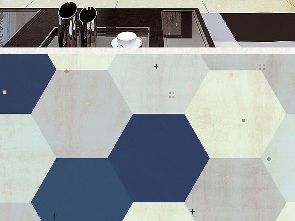 现代简约抽象几何五边形背景墙壁画复古背景图片设计图片