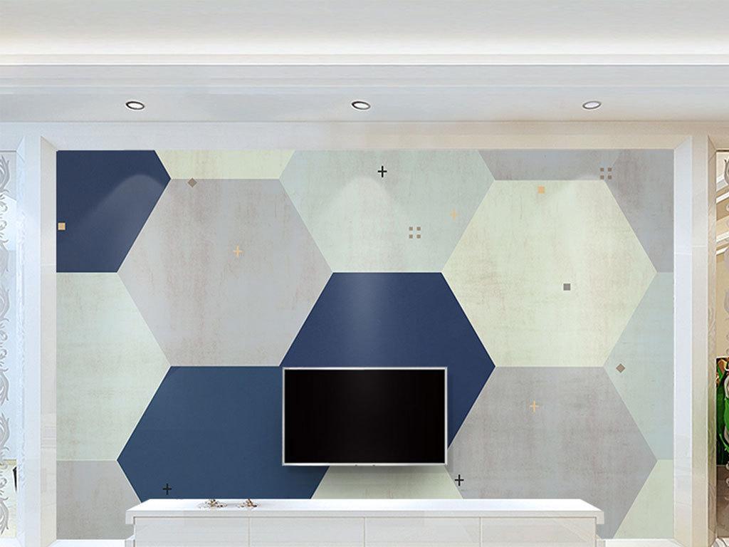 现代简约抽象几何五边形背景墙壁画复古背景图片