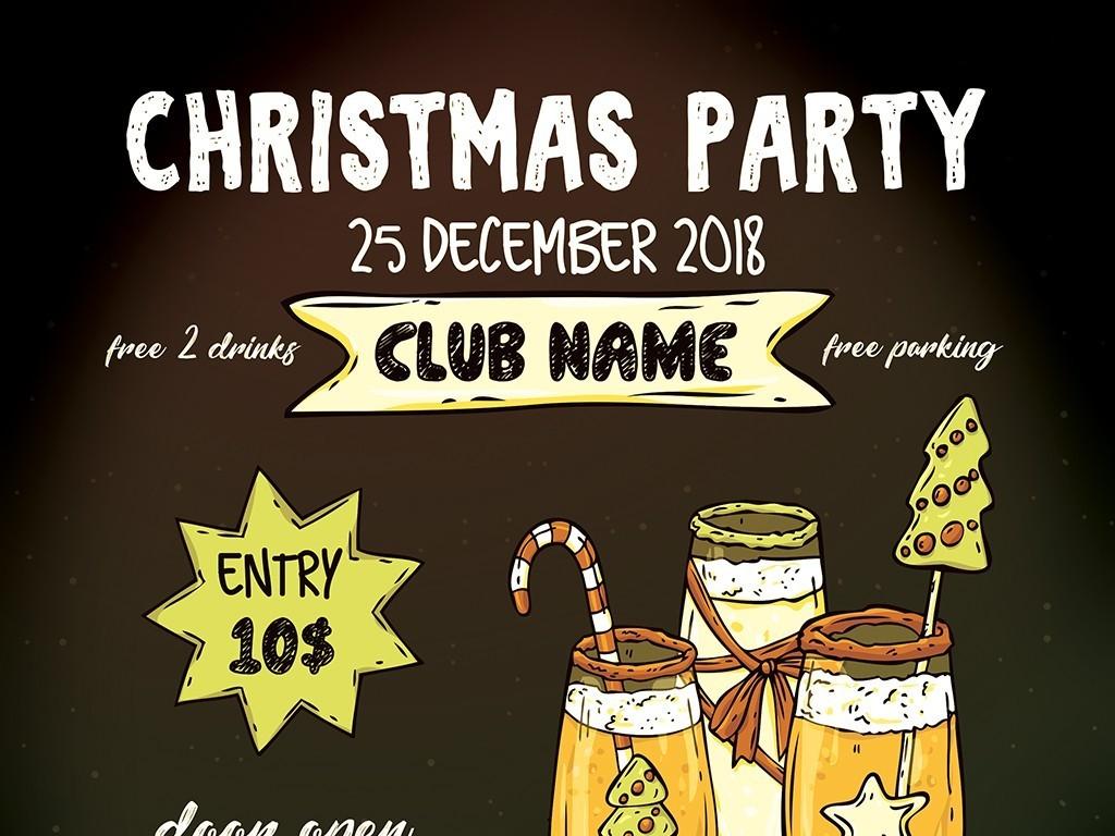 平面|广告设计 海报设计 国外创意海报 > 手绘圣诞新年酒会庆祝活动