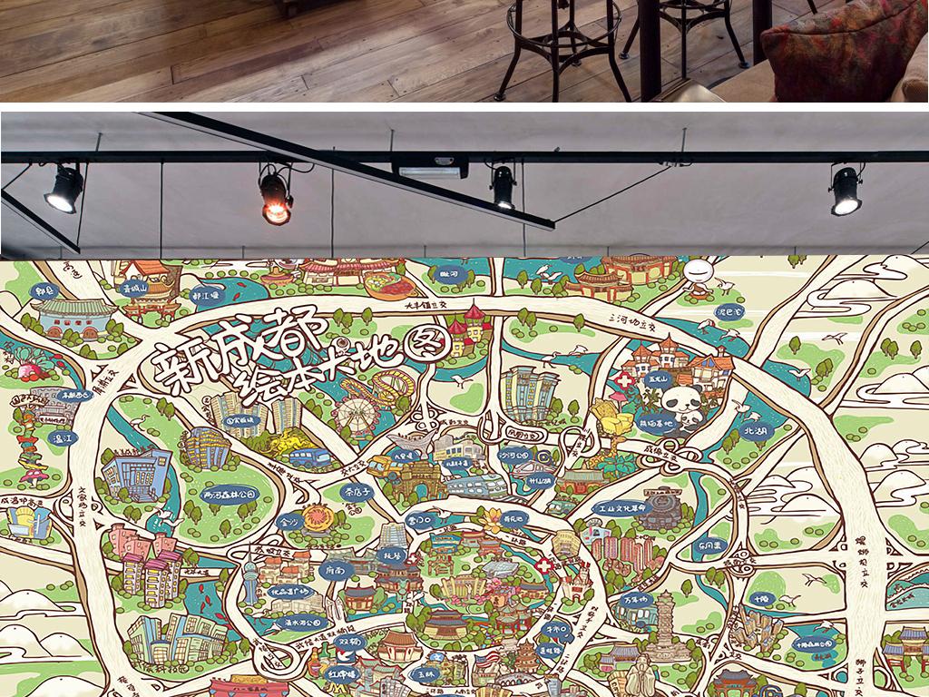 现代创意成都手绘地图工装背景墙图片设计素材_高清(.