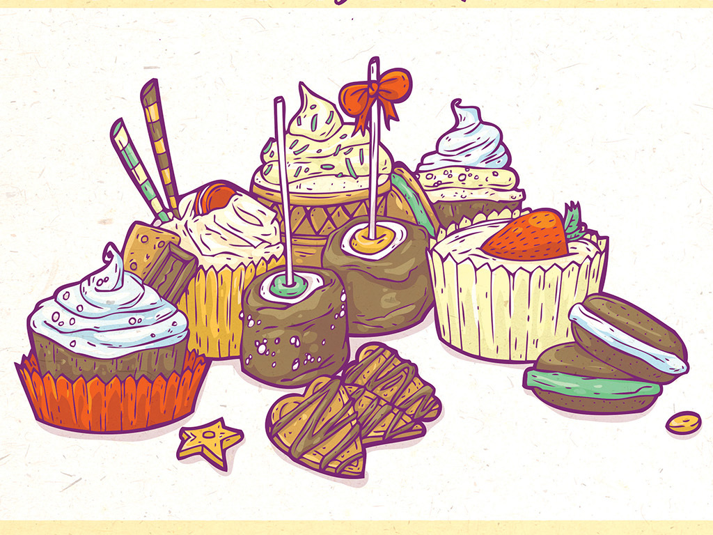淡雅文艺可爱手绘甜品店烘焙美食促销海报