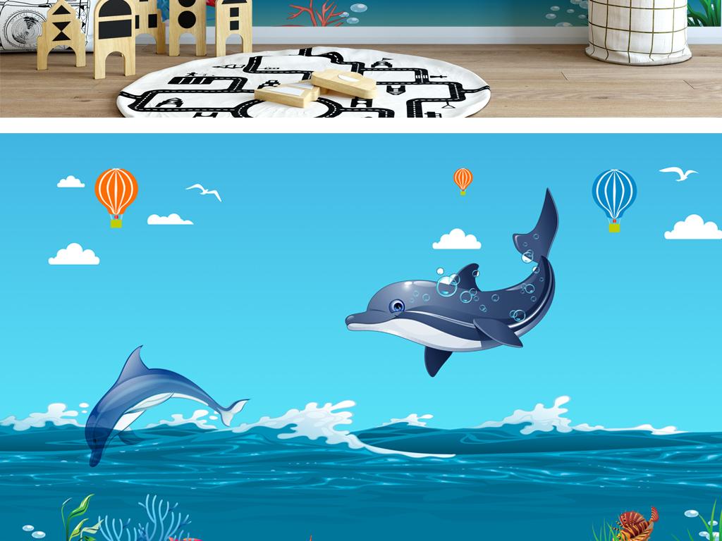 地中海风格手绘卡通鲸鱼儿童背景墙壁画