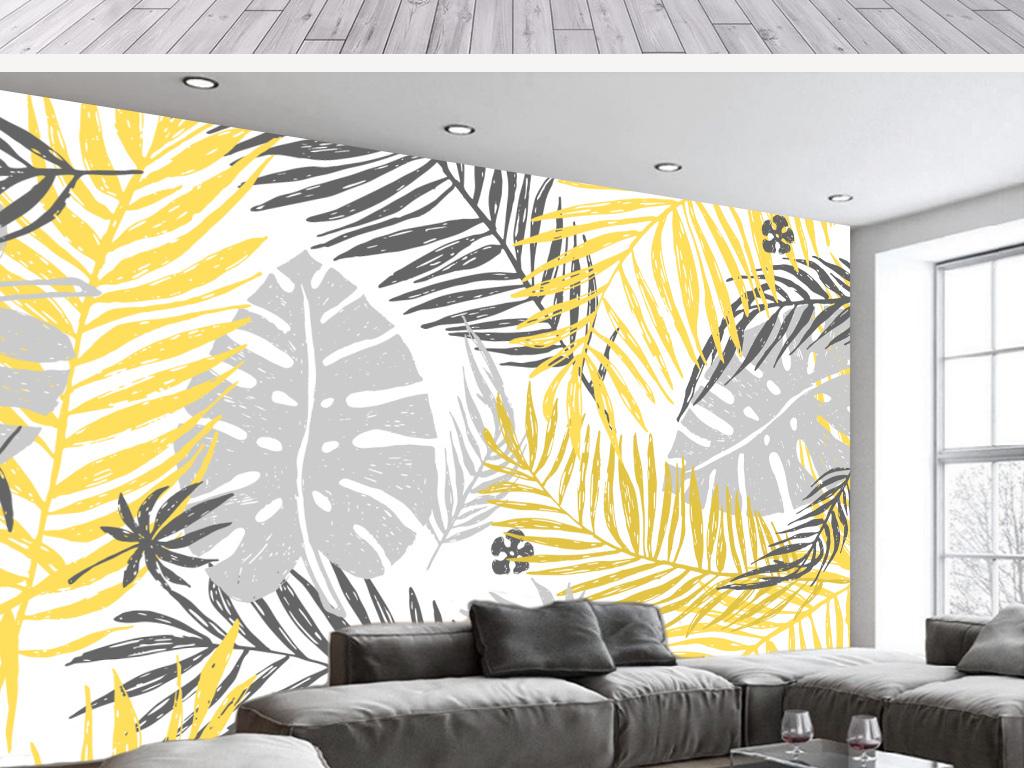 背景墙|装饰画 电视背景墙 手绘电视背景墙 > 北欧简约芭蕉叶金色椰树