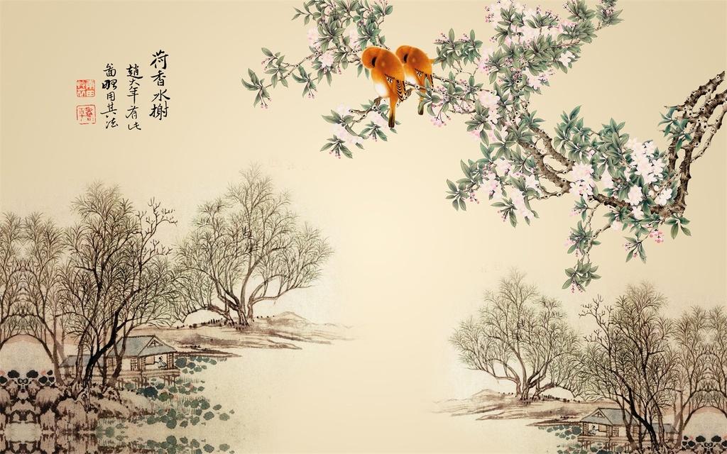 高清手绘花鸟电视背景墙壁画图片下载psd素材-中国风
