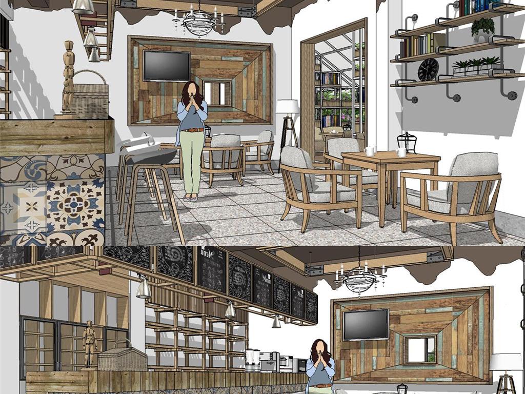 花园民宿书吧庭院su模型设计图下载(图片83.72mb)_库