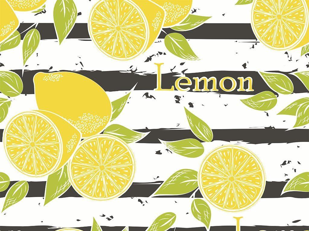 小清新柠檬卡通图案包装背景